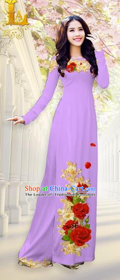 Traditional Top Grade Asian Vietnamese Costumes, Vietnam National Ao Dai Dress Printing Flowers Lilac Qipao for Women