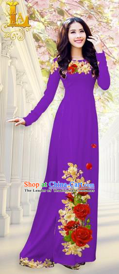 Traditional Top Grade Asian Vietnamese Costumes, Vietnam National Ao Dai Dress Printing Flowers Purple Qipao for Women