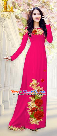 Traditional Top Grade Asian Vietnamese Costumes, Vietnam National Ao Dai Dress Printing Flowers Rosy Qipao for Women