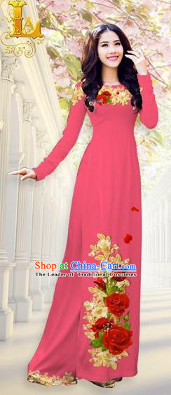 Traditional Top Grade Asian Vietnamese Costumes, Vietnam National Ao Dai Dress Printing Flowers Watermelon Red Qipao for Women