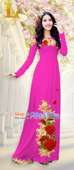 Traditional Top Grade Asian Vietnamese Costumes, Vietnam National Ao Dai Dress Printing Flowers Dusty Pink Qipao for Women