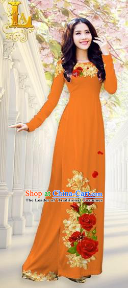 Traditional Top Grade Asian Vietnamese Costumes, Vietnam National Ao Dai Dress Printing Flowers Orange Qipao for Women