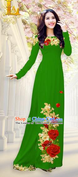 Traditional Top Grade Asian Vietnamese Costumes, Vietnam National Ao Dai Dress Printing Flowers Green Qipao for Women