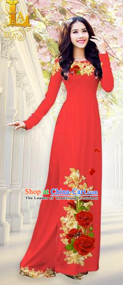 Traditional Top Grade Asian Vietnamese Costumes, Vietnam National Ao Dai Dress Printing Flowers Red Qipao for Women