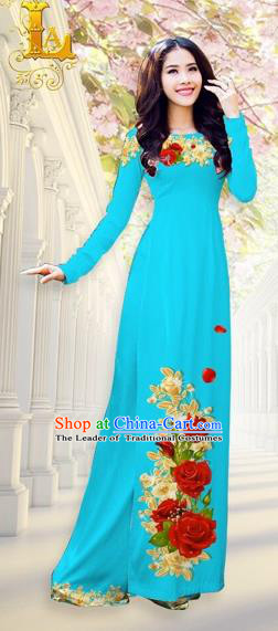 Traditional Top Grade Asian Vietnamese Costumes, Vietnam National Ao Dai Dress Printing Flowers Blue Qipao for Women