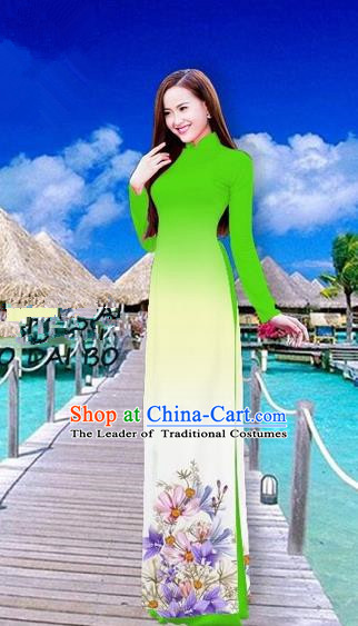 Traditional Top Grade Asian Vietnamese Costumes Full Dress, Vietnam National Ao Dai Dress Printing Flowers Fluorescent Green Stand Collar Qipao for Women