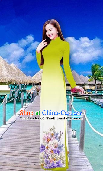 Traditional Top Grade Asian Vietnamese Costumes Full Dress, Vietnam National Ao Dai Dress Printing Flowers Olive Green Stand Collar Qipao for Women