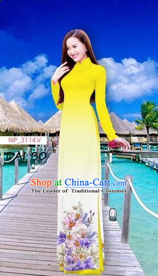 Traditional Top Grade Asian Vietnamese Costumes Full Dress, Vietnam National Ao Dai Dress Printing Flowers Yellow Stand Collar Qipao for Women
