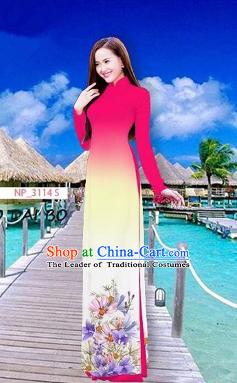 Traditional Top Grade Asian Vietnamese Costumes Full Dress, Vietnam National Ao Dai Dress Printing Flowers Rose Stand Collar Qipao for Women