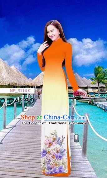 Traditional Top Grade Asian Vietnamese Costumes Full Dress, Vietnam National Ao Dai Dress Printing Flowers Orange Stand Collar Qipao for Women