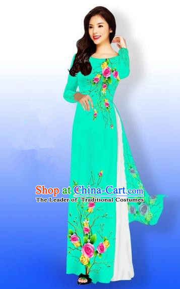 Traditional Top Grade Asian Vietnamese Costumes Full Dress, Vietnam National Ao Dai Dress Printing Rose Flowers Green Qipao for Women