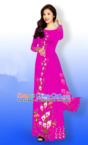 Traditional Top Grade Asian Vietnamese Costumes Full Dress, Vietnam National Ao Dai Dress Printing Rosy Qipao for Women