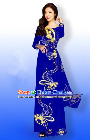 Traditional Top Grade Asian Vietnamese Costumes Full Dress, Vietnam National Ao Dai Dress Printing Royalblue Qipao for Women