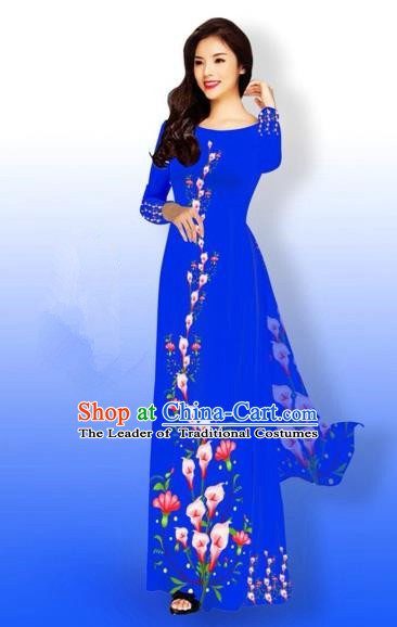 Traditional Top Grade Asian Vietnamese Costumes Full Dress, Vietnam National Ao Dai Dress Printing Blue Qipao for Women