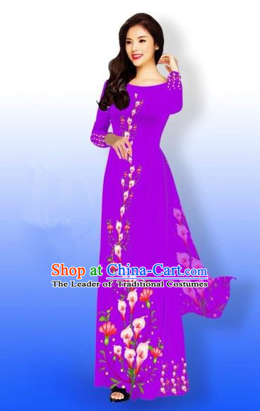 Traditional Top Grade Asian Vietnamese Costumes Full Dress, Vietnam National Ao Dai Dress Printing Purple Qipao for Women