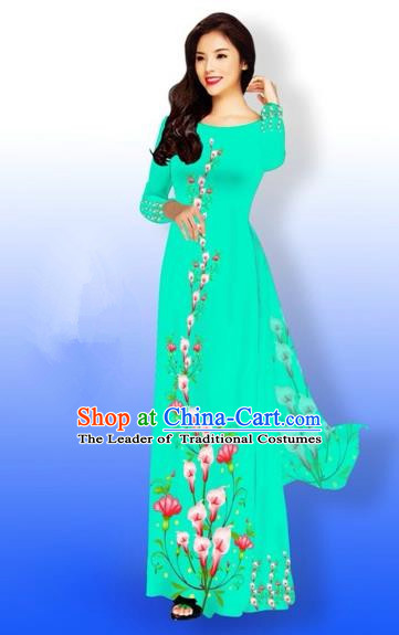 Traditional Top Grade Asian Vietnamese Costumes Full Dress, Vietnam National Ao Dai Dress Printing Green Qipao for Women
