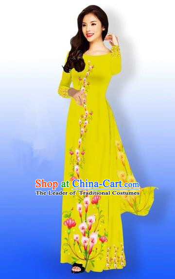Traditional Top Grade Asian Vietnamese Costumes Full Dress, Vietnam National Ao Dai Dress Printing Flowers Yellow Qipao for Women