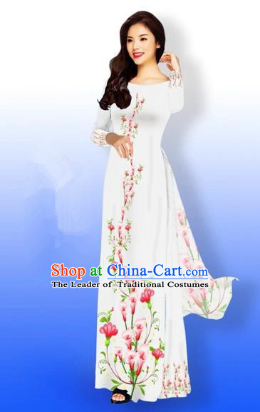 Traditional Top Grade Asian Vietnamese Costumes Full Dress, Vietnam National Ao Dai Dress Printing Flowers White Qipao for Women