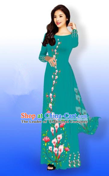Traditional Top Grade Asian Vietnamese Costumes Full Dress, Vietnam National Ao Dai Dress Printing Flowers Peacock Green Qipao for Women