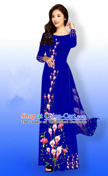 Traditional Top Grade Asian Vietnamese Costumes Full Dress, Vietnam National Ao Dai Dress Printing Flowers Royalblue Qipao for Women