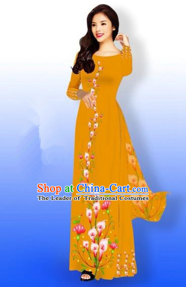 Traditional Top Grade Asian Vietnamese Costumes Full Dress, Vietnam National Ao Dai Dress Printing Flowers Ginger Qipao for Women