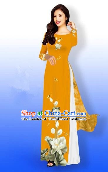 Traditional Top Grade Asian Vietnamese Costumes Full Dress, Vietnam National Ao Dai Dress Printing Flowers Round Collar Orange Qipao for Women