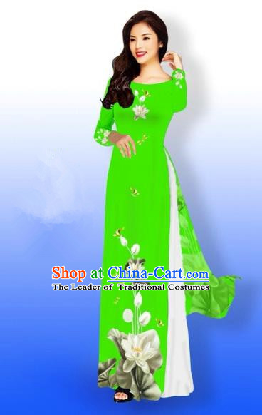 Traditional Top Grade Asian Vietnamese Costumes Full Dress, Vietnam National Ao Dai Dress Printing Flowers Round Collar Green Qipao for Women