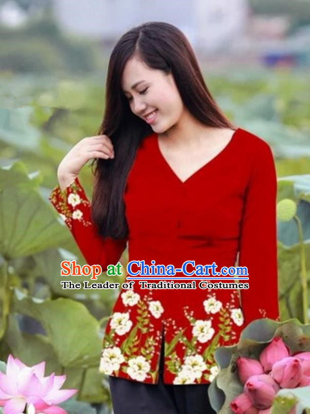 Traditional Top Grade Asian Vietnamese Costumes, Vietnam National Ao Dai Printing Red Blouse for Women