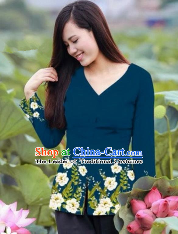 Traditional Top Grade Asian Vietnamese Costumes, Vietnam National Ao Dai Printing Peacock Blue Blouse for Women