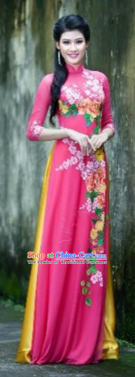 Traditional Top Grade Asian Vietnamese Costumes Classical Printing Flowers Full Dress, Vietnam National Ao Dai Dress Rosy Qipao for Women