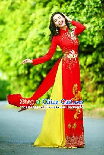 Traditional Top Grade Asian Vietnamese Costumes Classical Printing Wedding Full Dress, Vietnam National Ao Dai Dress Chinese Zodiac Dog Red Qipao for Women