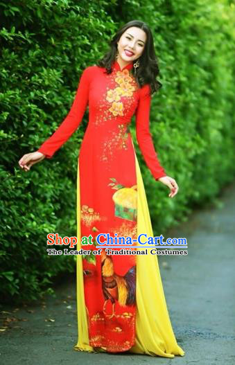 Traditional Top Grade Asian Vietnamese Costumes Classical Printing Wedding Full Dress, Vietnam National Ao Dai Dress Chinese Zodiac Rooster Red Qipao for Women