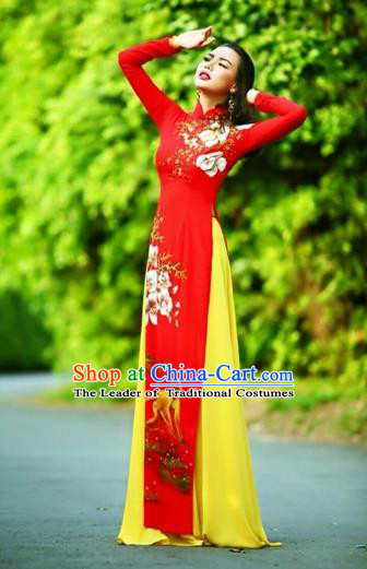 Traditional Top Grade Asian Vietnamese Costumes Classical Printing Wedding Full Dress, Vietnam National Ao Dai Dress Chinese Zodiac Monkey Red Qipao for Women