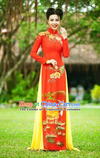 Traditional Top Grade Asian Vietnamese Costumes Classical Printing Wedding Full Dress, Vietnam National Ao Dai Dress Chinese Zodiac Sheep Red Qipao for Women
