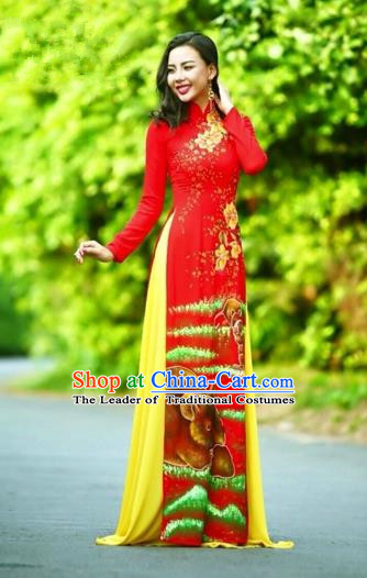 Traditional Top Grade Asian Vietnamese Costumes Classical Printing Wedding Full Dress, Vietnam National Ao Dai Dress Chinese Zodiac Rat Red Qipao for Women