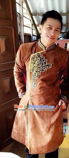 Traditional Top Grade Asian Vietnamese Costumes Classical Hand Printing Wedding Dress, Vietnam National Bridegroom Clothing for Men