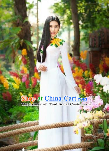 Traditional Top Grade Asian Vietnamese Costumes Classical Printing Flowers Wedding Full Dress, Vietnam National Ao Dai Dress White Qipao for Women