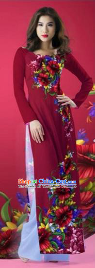 Traditional Top Grade Asian Vietnamese Costumes Classical Printing Flowers Wedding Full Dress, Vietnam National Ao Dai Dress Round Collar Red Qipao for Women