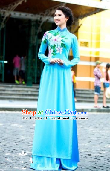 Traditional Top Grade Asian Vietnamese Costumes Classical Printing Wedding Full Dress, Vietnam National Ao Dai Dress Blue Bride Qipao for Women