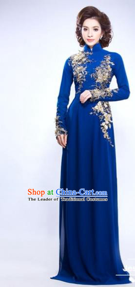 Traditional Top Grade Asian Vietnamese Costumes Classical Hand Embroidery Dowager Full Dress, Vietnam National Ao Dai Dress Bride Royalblue Qipao for Women