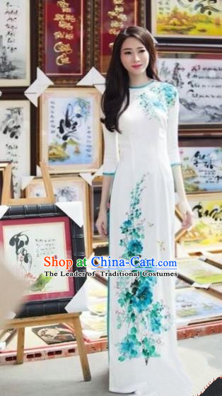 Traditional Top Grade Asian Vietnamese Costumes Classical Hand Printing Flowers Dowager Full Dress, Vietnam National Ao Dai Dress Bride White Qipao for Women