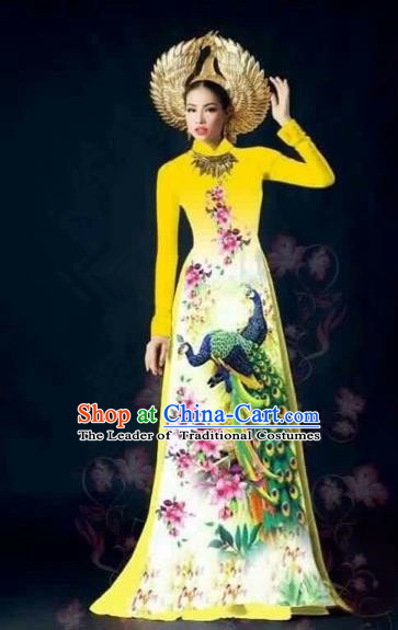 Traditional Top Grade Asian Vietnamese Costumes Classical Printing Peacock Full Dress, Vietnam National Ao Dai Dress Catwalks Yellow Qipao for Women
