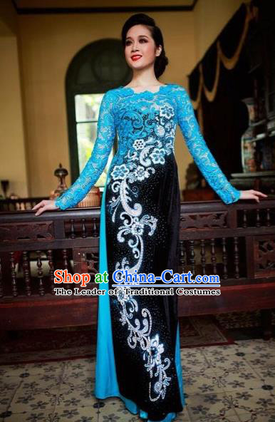 Traditional Top Grade Asian Vietnamese Costumes Classical Printing Lace Full Dress, Vietnam National Ao Dai Dress Catwalks Blue Qipao for Women