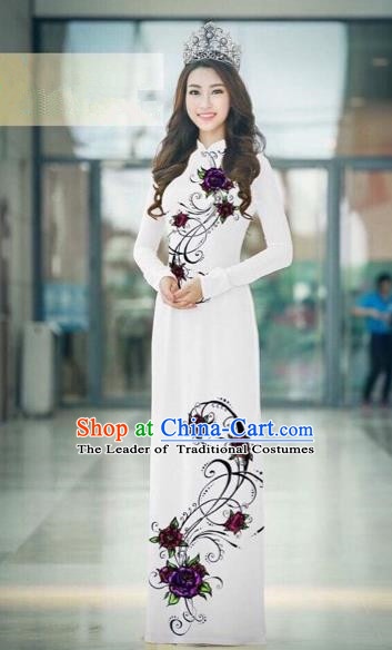 Traditional Top Grade Asian Vietnamese Costumes Classical Silk Printing Full Dress, Vietnam National Ao Dai Dress Catwalks Dowager White Qipao for Women