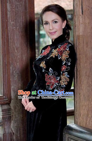 Traditional Top Grade Asian Vietnamese Costumes Classical Hand Embroidery Pleuche Full Dress, Vietnam National Ao Dai Dress Catwalks Dowager Black Qipao for Women