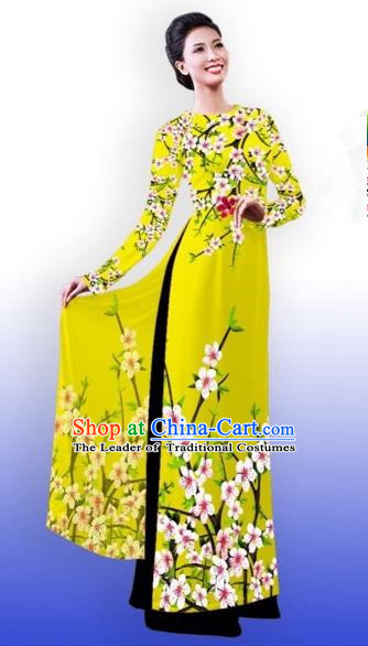 Traditional Top Grade Asian Vietnamese Costumes Classical Printing Peach Blossom Full Dress, Vietnam National Ao Dai Dress Catwalks Princess Yellow Qipao for Women