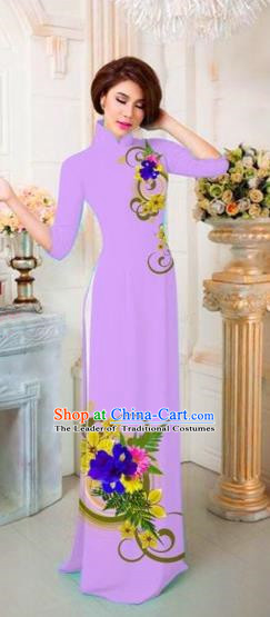Traditional Top Grade Asian Vietnamese Costumes Classical Printing Flowers Full Dress, Vietnam National Ao Dai Dress Catwalks Princess Purple Qipao for Women