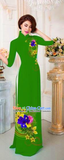 Traditional Top Grade Asian Vietnamese Costumes Classical Printing Flowers Full Dress, Vietnam National Ao Dai Dress Catwalks Princess Green Qipao for Women