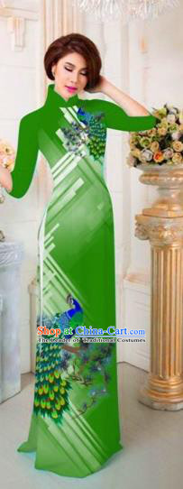 Traditional Top Grade Asian Vietnamese Costumes Classical Printing Peacock Full Dress, Vietnam National Ao Dai Dress Catwalks Princess Green Qipao for Women