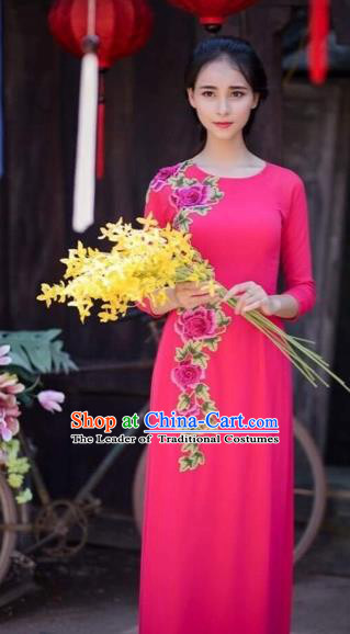 Traditional Top Grade Asian Vietnamese Costumes Classical Printing Flowers Wedding Full Dress, Vietnam National Ao Dai Dress Catwalks Bride Rose Qipao for Women